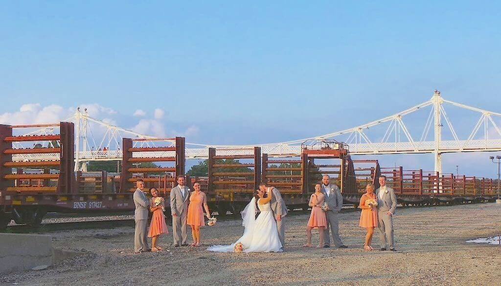 Footbridge Wedding Party