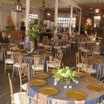 Gold, blue, and peach-pink event decor